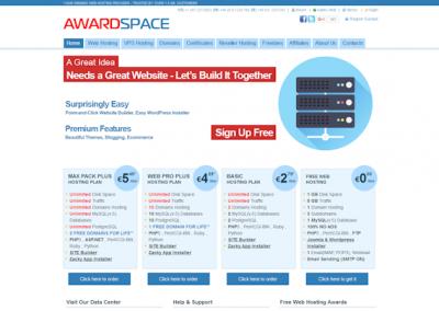 Снимка на уеб сайта AwardSpace